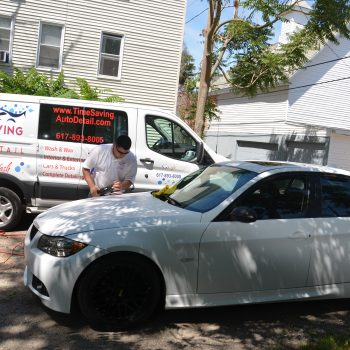 Polishing the hood of a BMW during mobile auto detailing by Time Saving Auto Detail