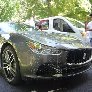 Mobile car wash of a Maserati in eastern MA by Time Saving Auto Detail of Newton MA